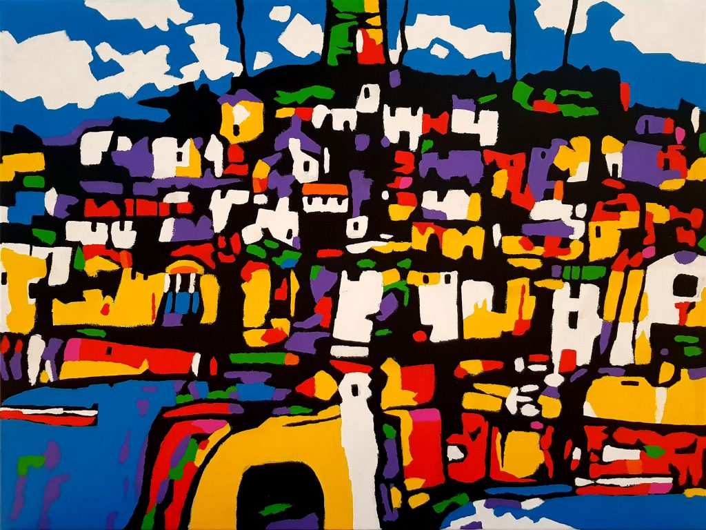 And from the yellow bridge a footpath took them away from the village (80x60cm) - Bert Taken