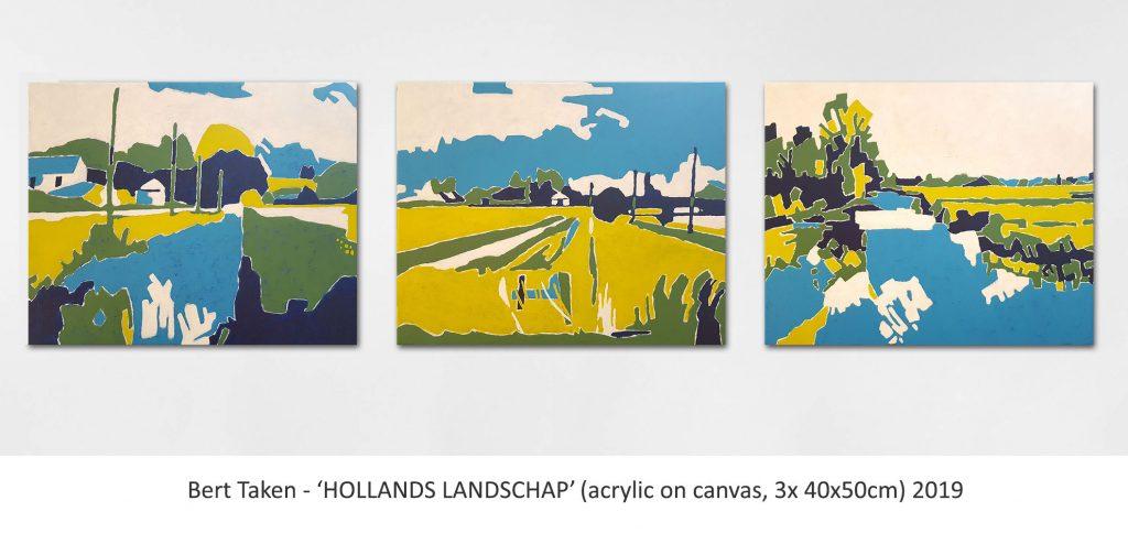Bert Taken - 'HOLLANDS LANDSCHAP' (acrylic on canvas, 3x 40x50cm) 2019