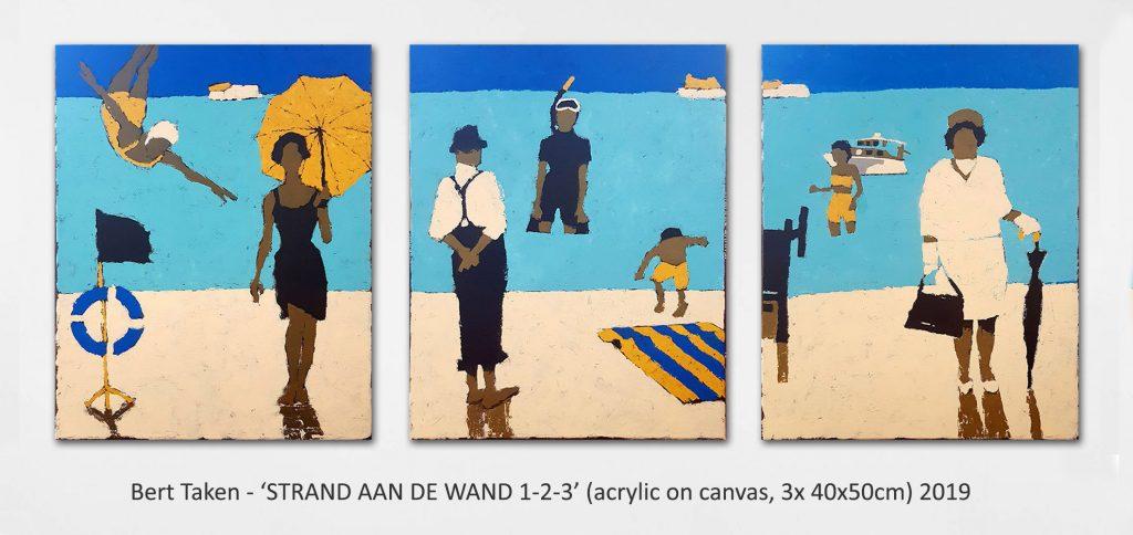 Bert Taken - 'STRAND AAN DE WAND 1-2-3' (acrylic on canvas, 3x 40x50cm) 2019