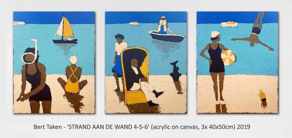 Bert Taken - 'STRAND AAN DE WAND 4-5-6' (acrylic on canvas, 3x 40x50cm) 2019