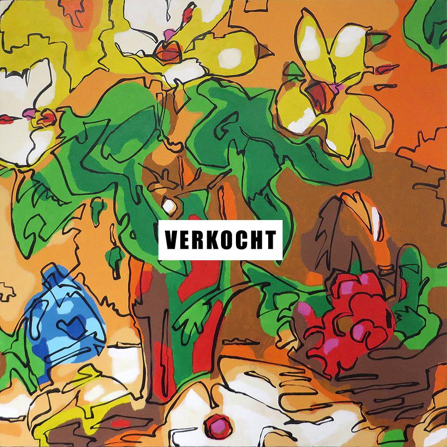 Still Life 02 - Bert Taken (acrylic on canvas 60x60 cm) VERKOCHT