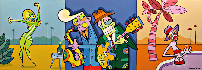 BlueHipster - Making Music At The Jet-Set Oasis (200x80cm)