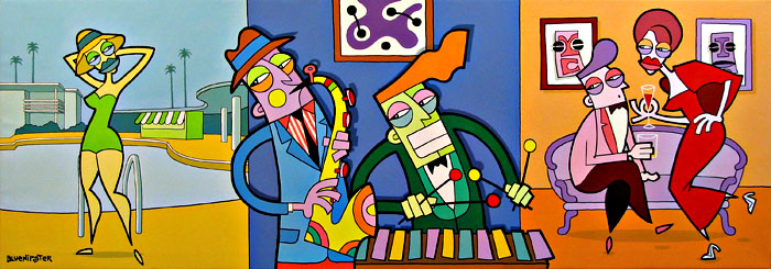 BlueHipster - Making Music At The Jet-Set Social Club (200x80cm)