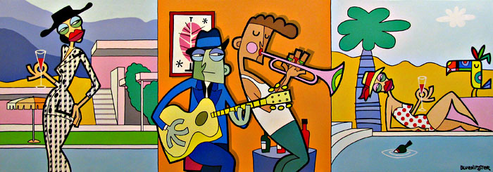 BlueHipster - Making Music While Other People Struggle (200x80cm)
