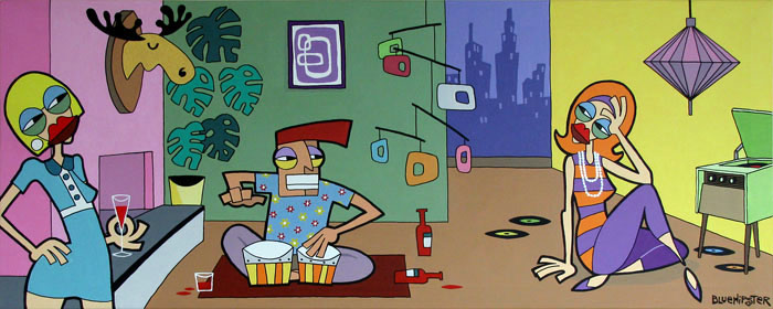 BlueHipster - Watch out for the Unstoppable Bongo Party Man (150x60cm)