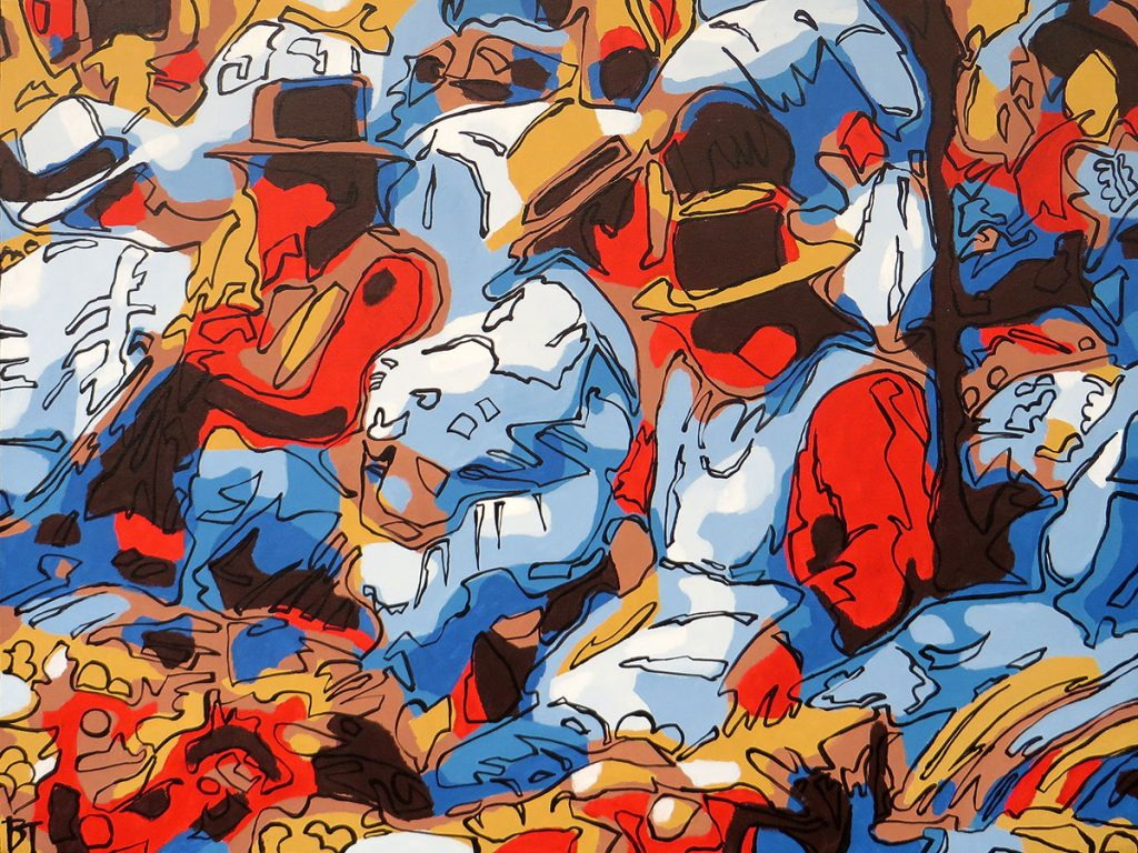 Pisac, Peru - After so much history, we succumb to these simple things - Bert Taken (acrylic on canvas 60x80 cm)