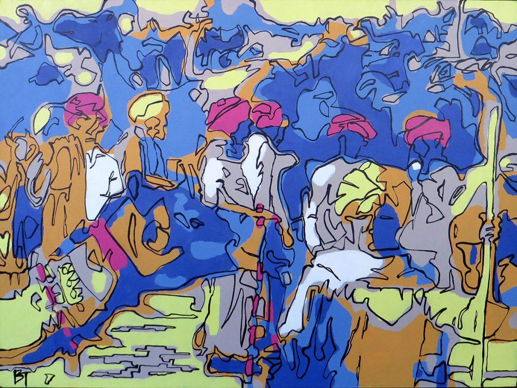 Pushkar Camel Fair, India - Traversing the undulating sand dunes to perform penance for a thousand years - Bert Taken (acrylic on canvas 60x80 cm)