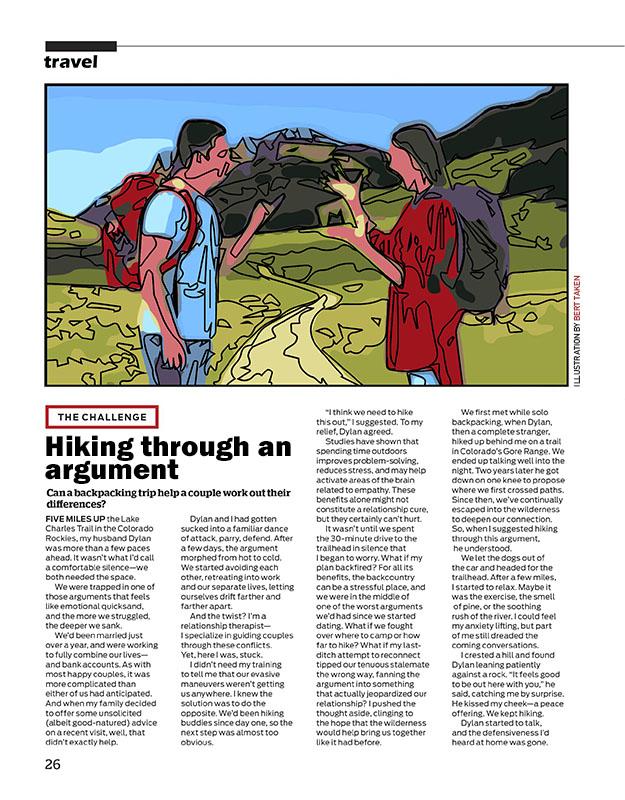 Magazine illustration - Hiking through an argument