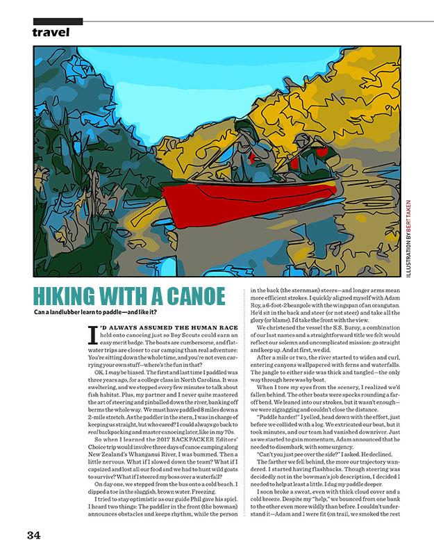 Magazine illustration - Hiking with a canoe
