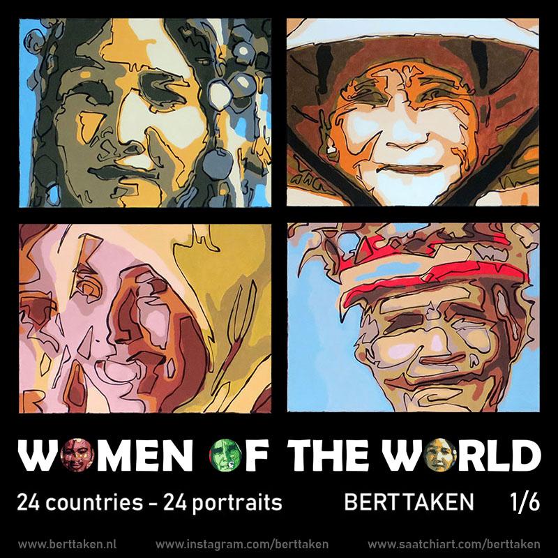 Women of the World 24 portraits (each portrait acrylic on canvas 30x45cm) 1/6