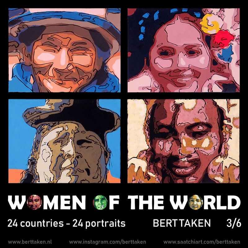 Women of the World 24 portraits (each portrait acrylic on canvas 30x45cm) 3/6