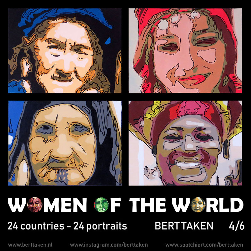 Women of the World 24 portraits (each portrait acrylic on canvas 30x45cm) 4/6