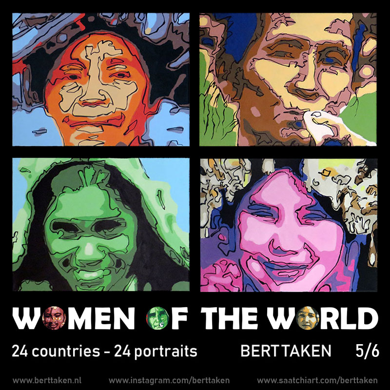 Women of the World 24 portraits (each portrait acrylic on canvas 30x45cm) 5/6