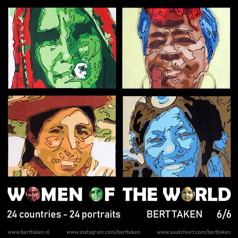 Women of the World 24 portraits (each portrait acrylic on canvas 30x45cm) 6/6