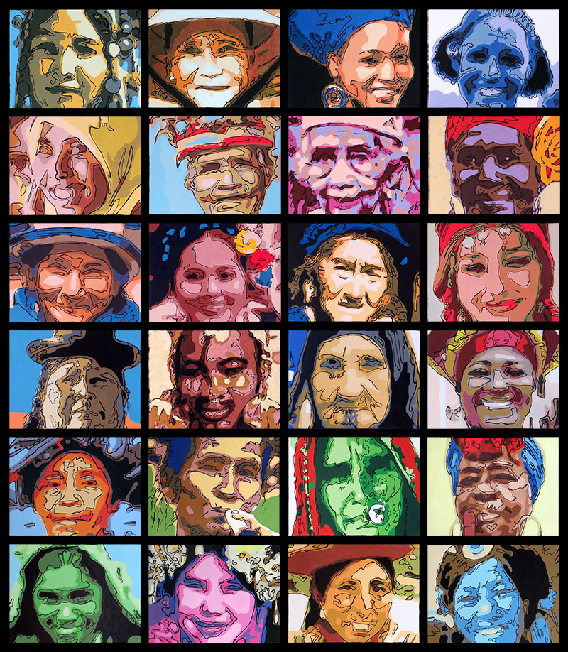 World Female Portraits - Bert Taken - 24 portraits acrylic on canvas (30x40cm each)